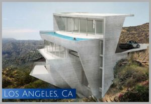 "The futuristic ""clamshell"" home is being constructed right under the Hollywood sign in Los Angeles CA"