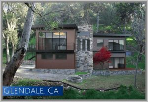 Originally demolished by a fire, this modern homes site on nearly a 1/2acre in Glendale CA