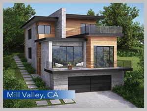 The SPEC Investor project in Mill Valley California is built on a steep hillside vacant lot